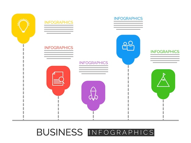 비즈니스 단계 정보 벡터 infographic