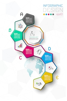 Business step options and abstract infographics.