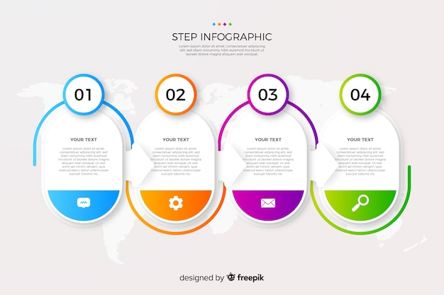Бизнес шаги инфографики градиент