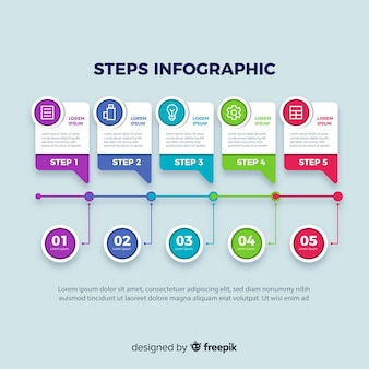 Business steps infographic with colorful shapes