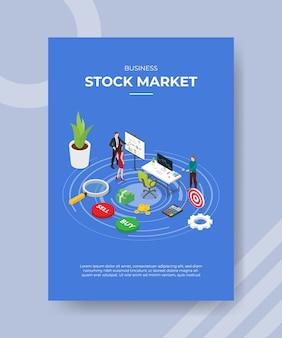 Scheda del grafico di presentazione degli uomini del mercato azionario di affari alle donne per il modello di banner e flyer