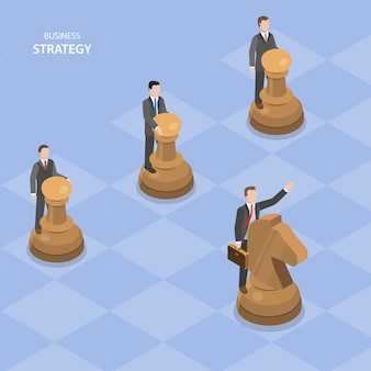 Business stratagy isometric flat vector concept.