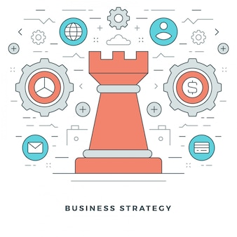 Business strategic management and line style icons design.