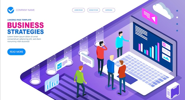 Business strategies isometric concept of site, business people working together and developing a successful business strategy, vector illustration