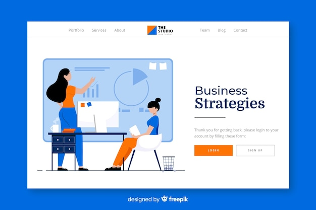 Business strategies landing page