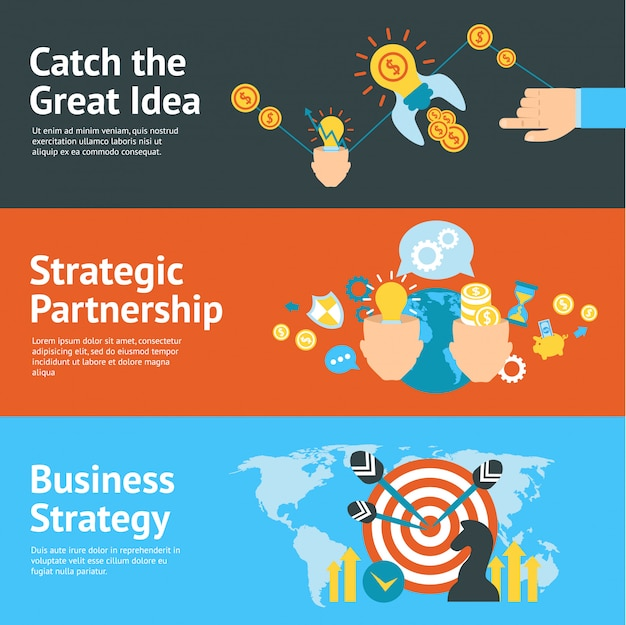 Business strategy analysis concept banners set
