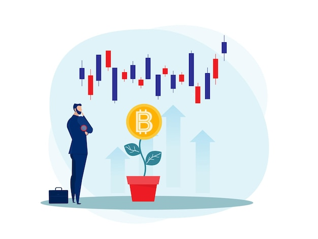 Business strategy analysis stock market with bitcoin upward growth illustration.