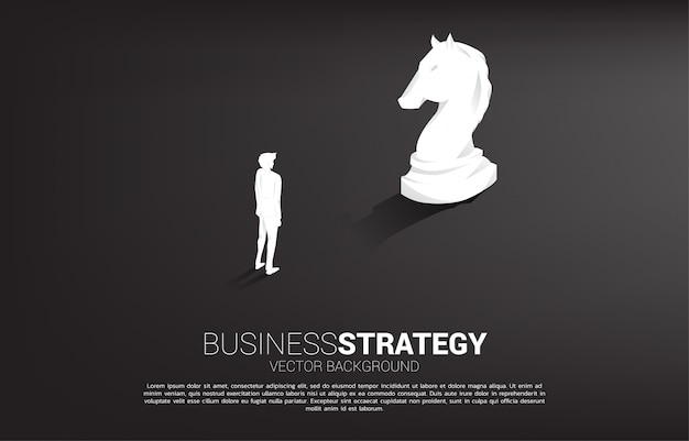 Business strategy background with businessman and knight chess piece