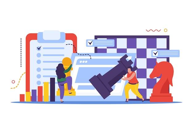 Composizione della strategia aziendale con pezzi degli scacchi