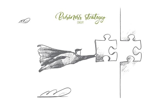 Концепция бизнес-стратегии. ручной обращается супергерой с головоломкой в руке. летающий человек держит часть изолированной иллюстрации мозаики.