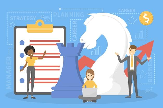 ビジネス戦略の概念。成功のためのマーケティング計画。会社の分析と調査。孤立したフラット