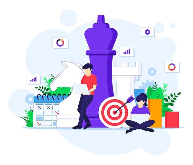 Концепция бизнес-стратегии, люди планируют концепцию бизнес-стратегии. метафора команды, иллюстрация достижения цели