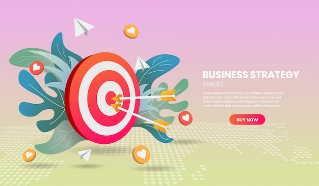 Business strategy concept with arrow and colorful element. 3d vector illustration. Premium Vector