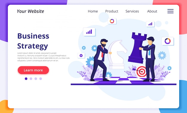 Business strategy concept with businessmen moving chess pieces on chess board. website landing page template