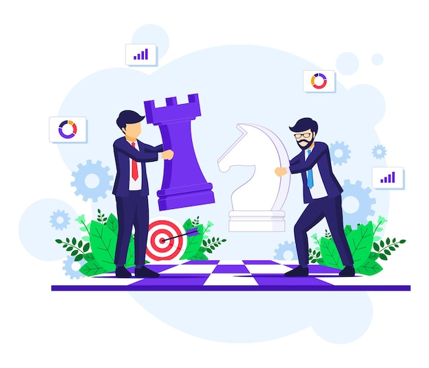 체스 보드 그림에 체스 조각을 이동하는 기업인과 비즈니스 전략 개념