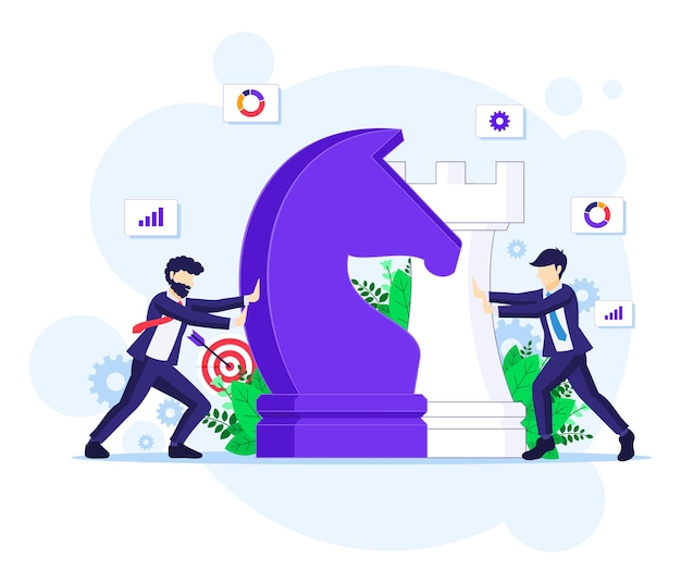 Business strategy concept with businessmen moving giant chess pieces, strategic planning and tactics in business illustration