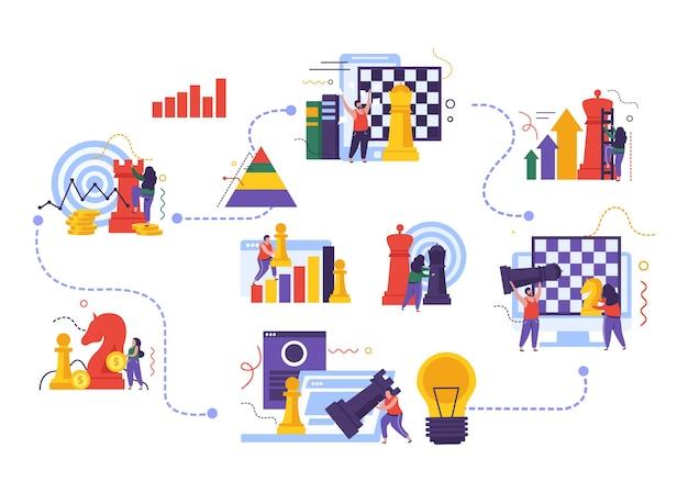 Концепция бизнес-стратегии с плоской иллюстрацией символов игры в шахматы