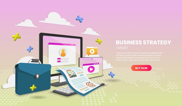 Business strategy concept with laptop and document vector 3d vector illustration.