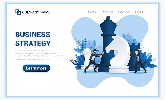 Business strategy concept with two businessmen moving giant chess pieces.