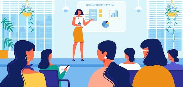 여성을위한 비즈니스 전략 코스. 표시.