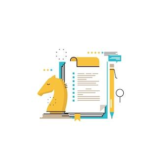 ビジネス戦略、評価、評価フラットベクトルイラストデザイン。モバイルおよびウェブグラフィックスのためのビジネス管理およびコンサルティングデザイン