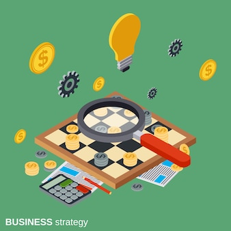 Business strategy flat isometric vector concept illustration