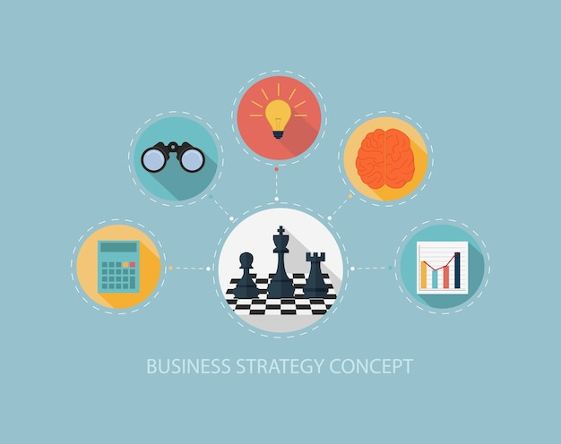 Business strategy on flat style design