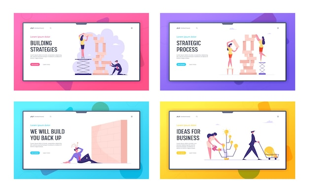 Business strategy ideas producing and barrier in career website landing page