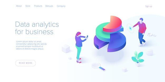Изометрические бизнес-стратегии. аналитика данных для маркетинговых решений компании или финансовых показателей. бюджетный учет или понятие статистики. шаблон макета баннера веб-сайта.