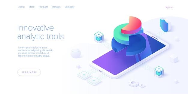 ビジネス戦略の等角図。会社のマーケティングソリューションまたは財務実績のためのデータ分析。予算会計または統計の概念。ウェブサイトのバナーレイアウトテンプレート。