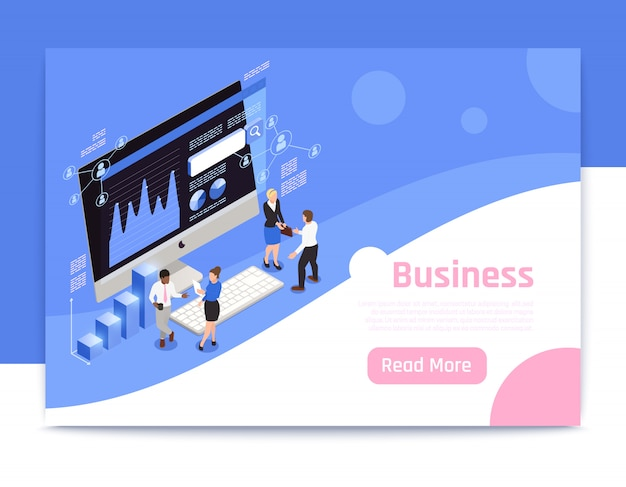 Business strategy isometric page design with marketing symbols  illustration