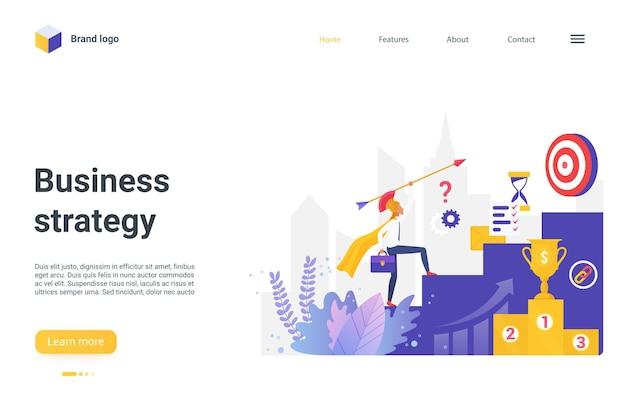 Целевая страница бизнес-стратегии, персонаж бизнесмена, поднимающийся по высокой лестнице для достижения цели