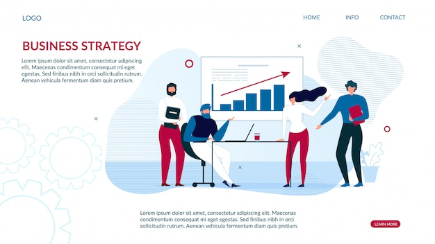 Business strategy landing page for data analysis