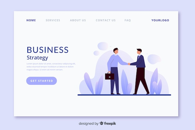 Business strategy landing page flat design