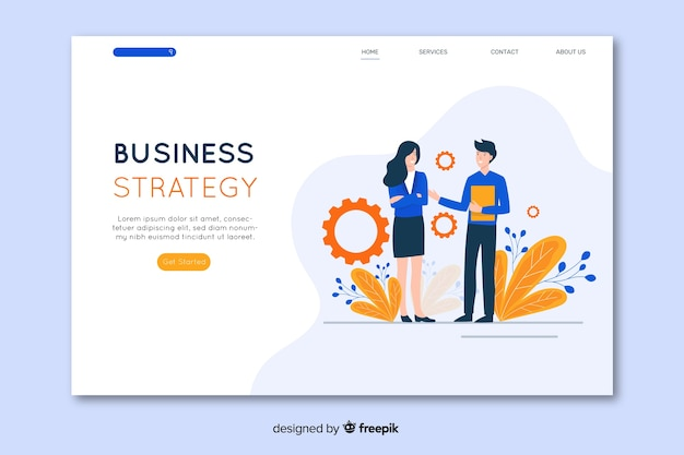 Business strategy landing page in flat design