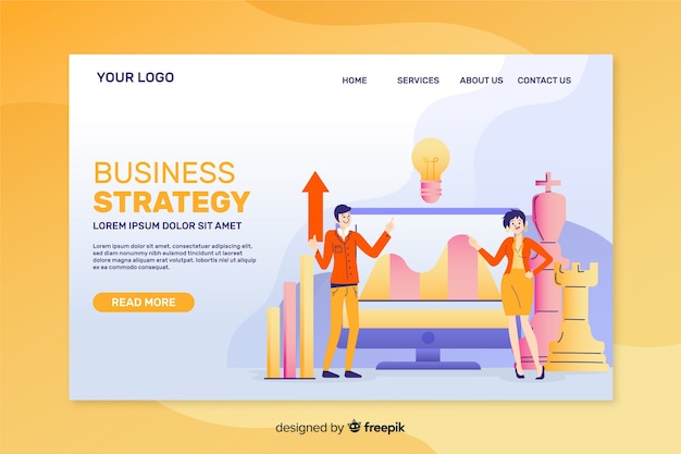 Business strategy landing page template flat design