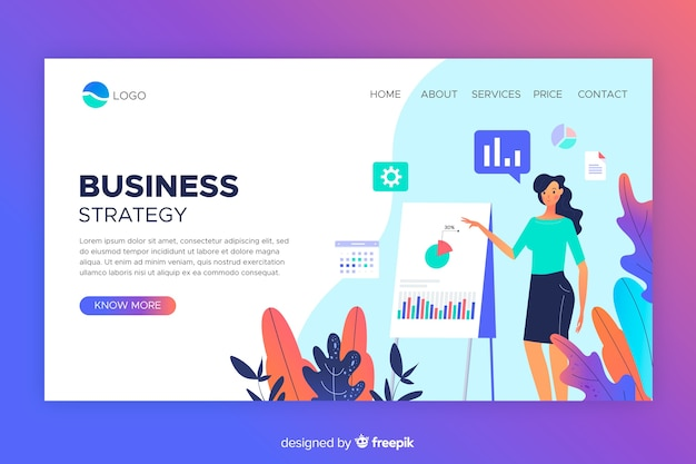 Business strategy landing page web design
