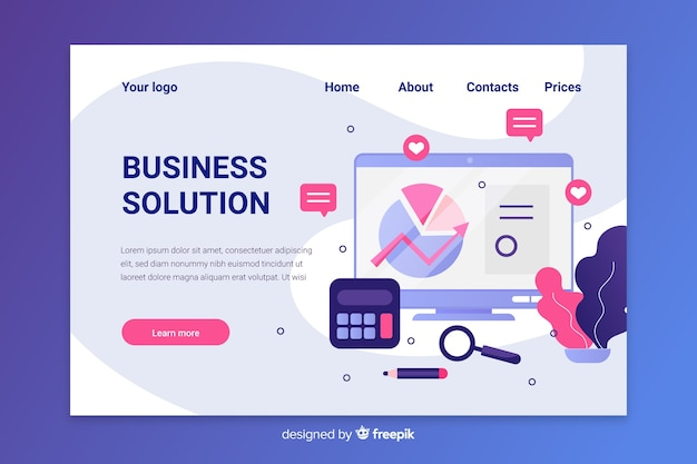 Business strategy landing page with colorful charts