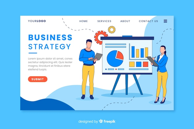 Business strategy landing page with content