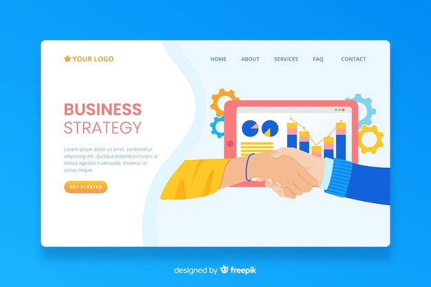 Business strategy landing page with information