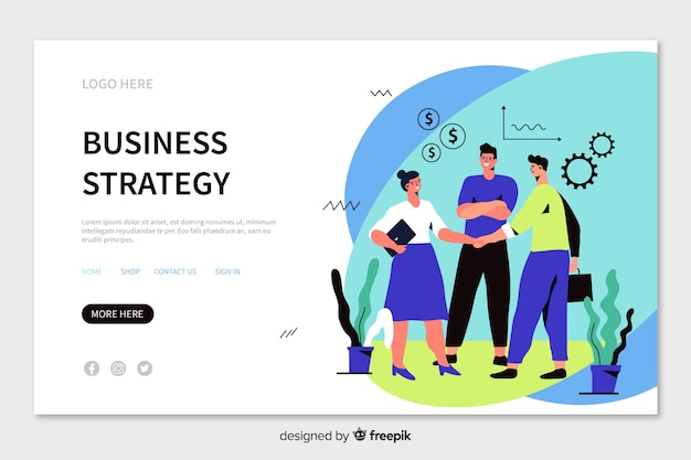 Business strategy landing page with workers shaking hands