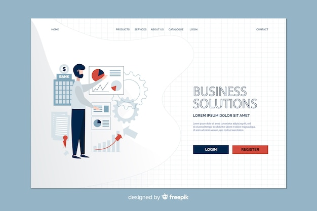 Business strategy and man landing page