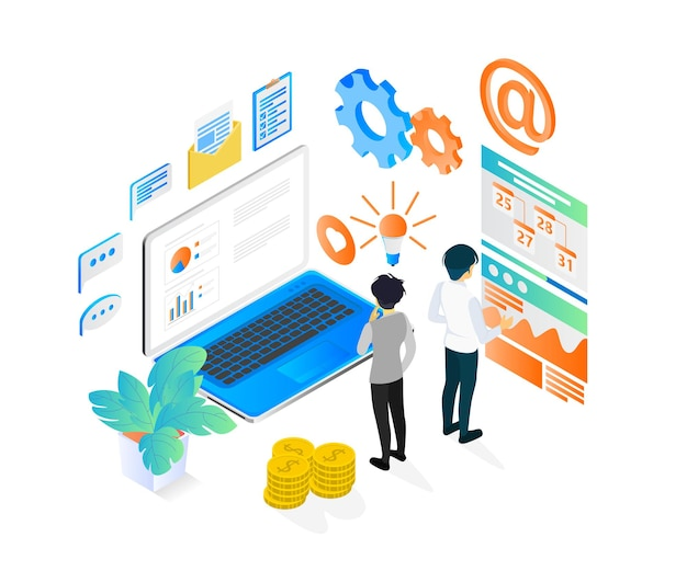 Business strategy planing isometric style illustration with character and laptop