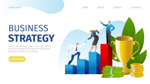 비즈니스 전략 계획 개념. 효과적인 관리, 목표 달성, 재정적 성장. 전략적 마케팅, 사업가 올라가고. 전략적 계획 및 목표.