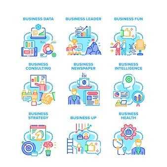 Бизнес-стратегия набор иконок векторные иллюстрации. бизнес-данные и здоровье, консультации и презентации для руководителей, разведка и чтение газет, веселье и отдых цветные иллюстрации