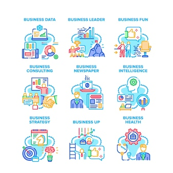 Business strategy set icons vector illustrations. business data and health, leader consulting and presentation, intelligence and newspaper reading news, fun time and relaxation color illustrations