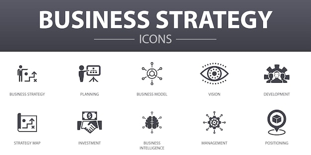 Набор иконок простой концепции бизнес-стратегии. содержит такие значки, как планирование, бизнес-модель, видение, разработка и многое другое, может использоваться для интернета, логотипа, ui / ux.