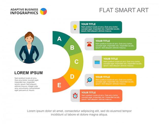 ビジネス戦略スライドテンプレート。チャート。インフォグラフィック、レポートの創造的なコンセプト。
