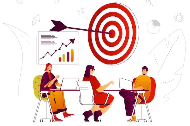 Бизнес-стратегия веб-концепция команда мозговой штурм успех нацеливание на развитие