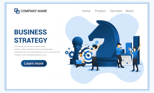 Business strategy  with characters. business metaphor, leadership, business management, target achievement. flat  illustration. flat  illustration